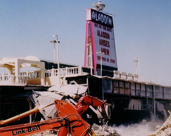 Demolition of the old Las Vegas Aladdin Casino was commenced in early March 1988 ~ A Bodine Heavy Duty Grapple (HDDM-225) was manufactured and delivered within 10 days! ~CLICK HERE TO VIEW THE FULL STORY~